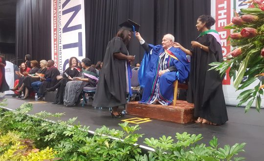 Dr P Bernard, Founder of SANTS during a Qualification Ceremony in 2017