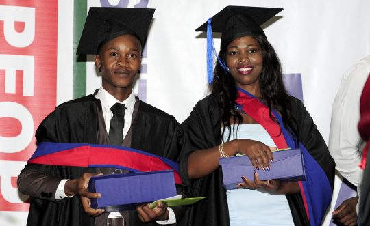 Mr M Zamokuhle and Ms F.P Thembelihle, Dr Piet Bernard Award recipients in 2017