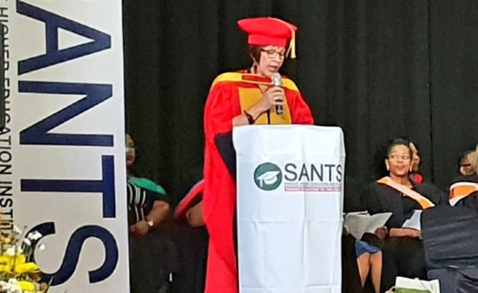 Prof I Joubert, SANTS' Executive Academic Director officially starting the Diploma in Grade R Teaching Qualification Ceremony.